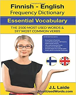 Book Finnish English Frequency Dictionary - Essential Vocabulary: 2500 Most Used Words & 597 Most Common Verbs: Volume 1
