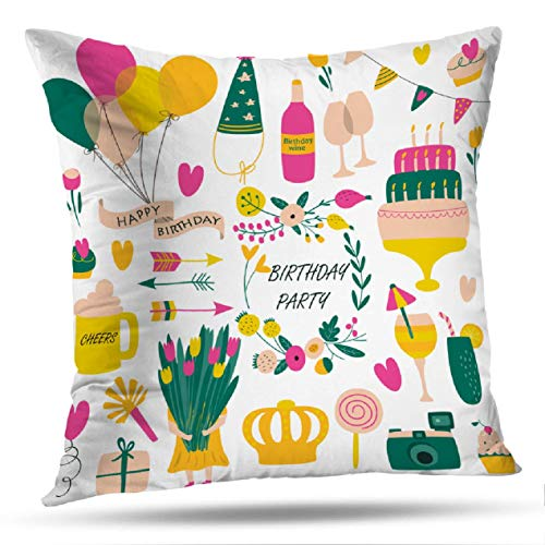 KJONG Arrows-Flower Square Decorative Pillow Case 18 x 18 Inch Pillow Cover for Bedroom Living Room Birthday with Balloons Flowers Candies Hearts Arrows Gift Box 2 Sides Print