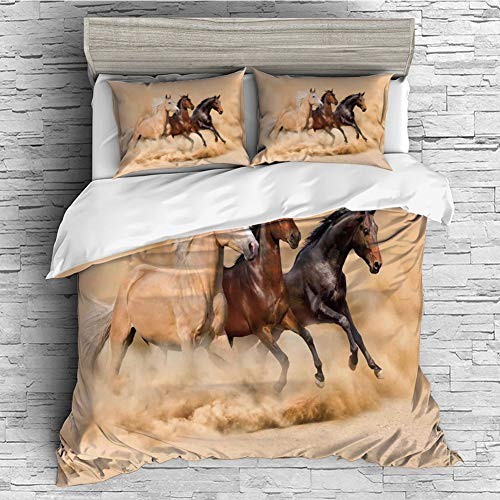 Home Luxury 4 Pieces Duvet Cover Bedding Sheet Set(Double Size) Horses,Three Horse Running in Desert Storm Mythical Mystic Messenger Animals Habitat Print,Cream Brown