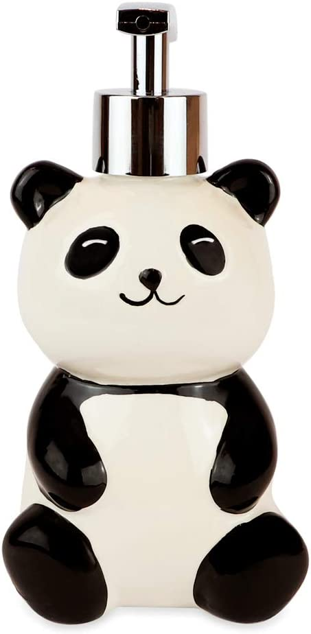 Isaac Jacobs Black and White Ceramic Panda Bear, Liquid Soap Pump/Lotion Dispenser with Chrome Metal Pump (Holds Up to 12 Oz) – Great for Bathroom, Kitchen Countertop, Bath Accessory (Panda)