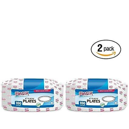 Amazon.com: Basix Basix 100 platos de plástico desechables ...
