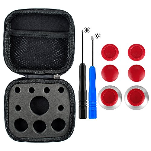 eXtremeRate 4 in 1 Metal Magnetic Thumbsticks Analogue Joysticks T8H Cross Screwdrivers Replacement Repair Kits With Storage Case for Xbox One S Elite PS4 Slim Pro Controller Red