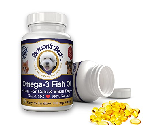 Benson's Best Omega-3 Fish Oil for Cats & Small Dogs. Provides 43% More Omega-3 than Salmon Oil! 100% Pure, Natural & Non-GMO, 200 Easy To Swallow 500 mg Softgel Capsules: Ideal for Cats & Small Dogs! For Sale