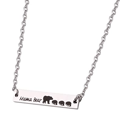 REEBOOO Mama Bear Necklace Gifts for Mom Jewelry (Bar 3 Cubs)  sc 1 st  Amazon.com & Amazon.com: REEBOOO Mama Bear Necklace Gifts for Mom Jewelry (Bar 3 ...