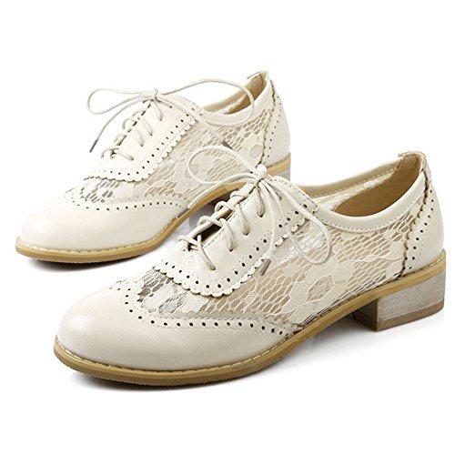 Mujer Ivory Zanpa de Oxford Casual Shoes Lace Zapatos Cordones BnPwTZq