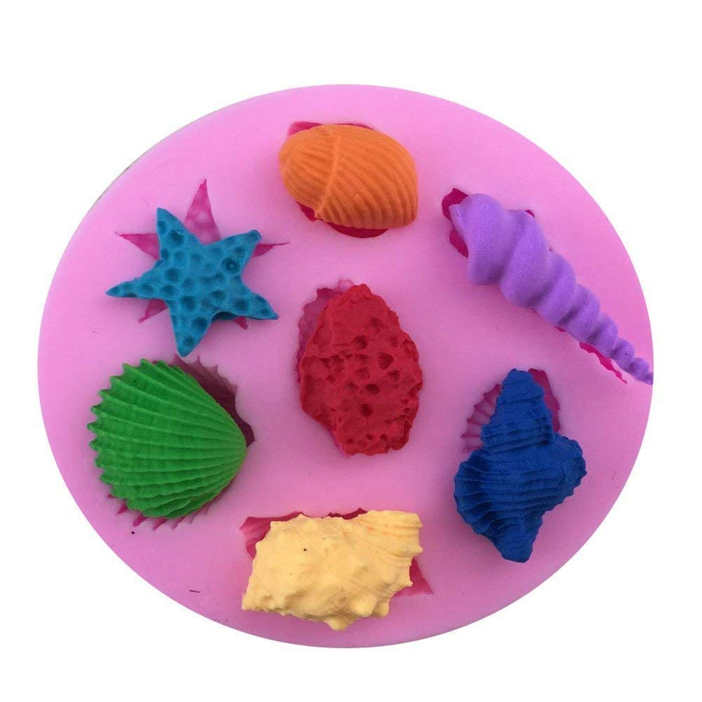 3D Cake Decorating Fondant Silicone Sugar Craft Mould,Sea Shells Beach Shape Greenpromise