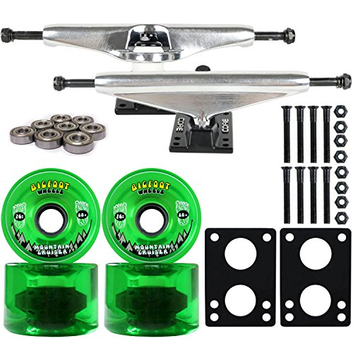 Exceptional Longboard Skateboard Trucks Combo Set 76mm Bigfoot Cruisers Wheels With  Silver Trucks, Bearings, And Hardware Package (76mm Green Wheels, 6.0  (8.63