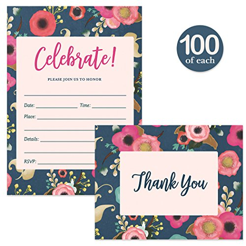 All Occasion Invites ( 100 ) & Thank You Cards ( 100 ) Matching Set with Envelopes Perfect Celebration Any Large Event Party Lovely Fill-in Guest Invitations & Folded Thank You Notes Best Value Pair by Digibuddha