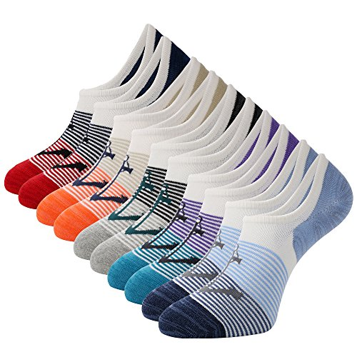 The One Mens No Show Low Cut Socks 5Pack Striped Casual Cotton Ankle Non-Slide Socks (Stripe with Anchor - 5Pairs) ()
