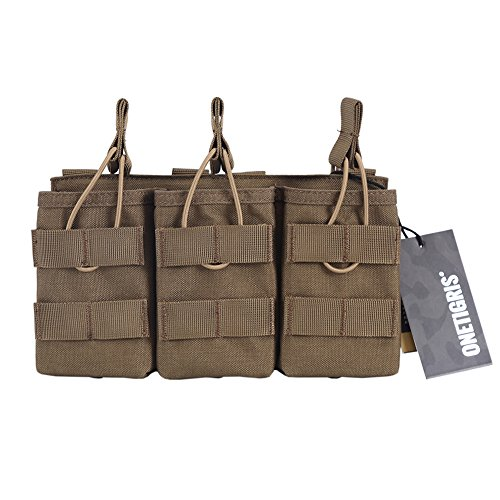 OneTigris Open-Top Triple Mag Pouch DD07 for M4 M14 M16 AK47 AK74 G36 Magazine (Coyote Brown - 1000D Nylon) (M4 Triple Mag Pouch)