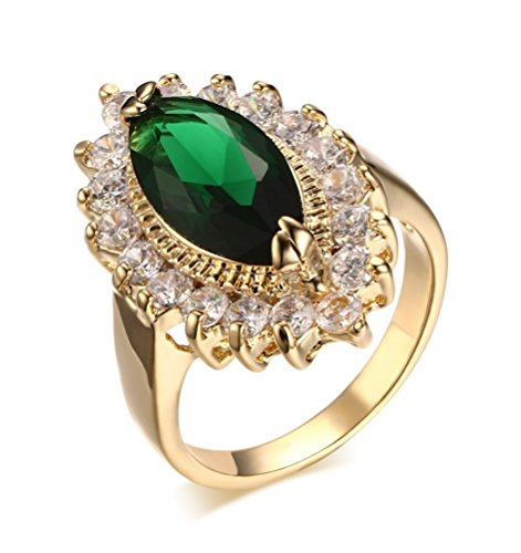 Mrsrui Women Pear Shaped Created Green Simulated Emerald Birthstone Engagement Ring