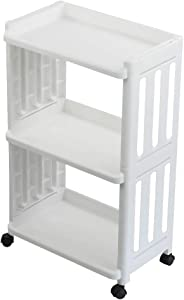 Vcansay 3 Tiers Kitchen Rolling Storage Trolley Utility Serving Carts with Wheels, White, 1 Pack