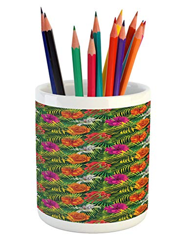 Ambesonne Orchids Pencil Pen Holder, Palm Tree Jungle Leaves Pastel Exotic Charms Forest Foliage Beauty Flora Motif, Printed Ceramic Pencil Pen Holder for Desk Office Accessory, Multicolor