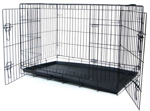 Double Door Heavy Duty Dog Crate in Black
