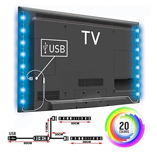 TOP-MAX LED Strip Lights,Color Changing TV PC Back Light 3.28FT 5V RGB 5050 Mood Light Lighting Decoration (2X50CM)