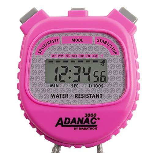 MARATHON Adanac 3000 Digital Stopwatch Timer, Water Resistant (Neon Pink, 1) ()