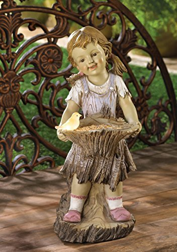 Children Garden Girl Solar Statue Outdoor Concrete Sculptures Decor Disney Angel Ornament (Lawn Ornament Religious Statue)