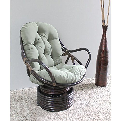 Rattan Rocker - International Caravan 3310-TW-BK-IC Furniture Piece Swivel Rocker with Twill Cushion