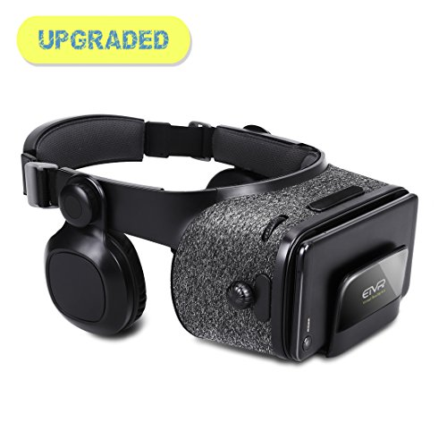 3D Light-Weight Virtual Reality Headset with Builted-in Stereo Headphone - Upgraded VR Glasses with 120 Degree FOV - for iPhone & Android - Black