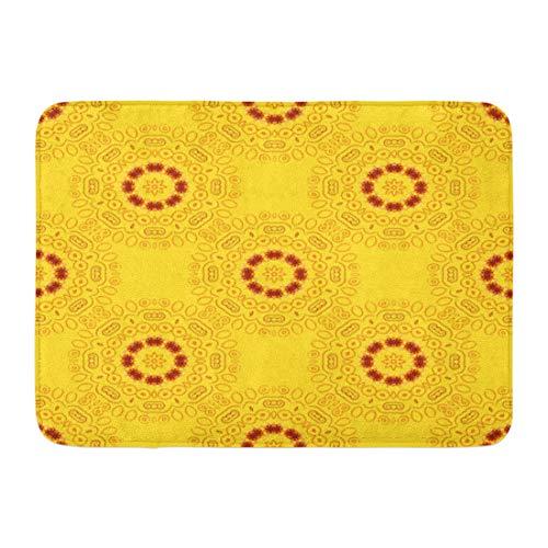 - Emvency Doormats Bath Rugs Outdoor/Indoor Door Mat Abstract Geometric Mandala Pattern Traditional Oriental Ethnic Brown Yellow and Orange Batik Colors Bathroom Decor Rug Bath Mat 16