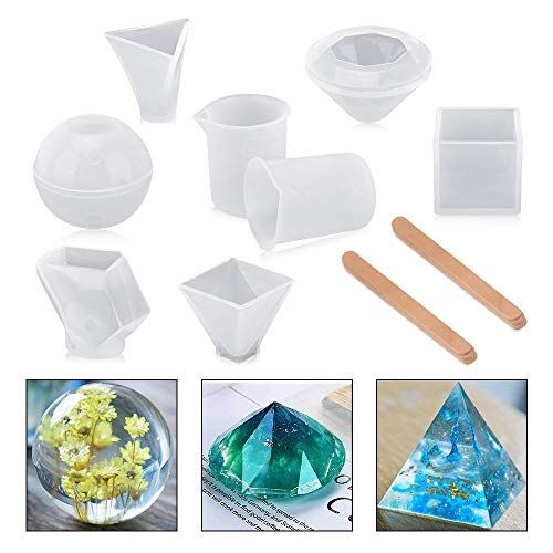 Resin Casting Molds,BASEIN 6 Pack Silicone Resin Craft Molds Includes Sphere/Cube/Diamond/Pyramid/Triangular Pyramid/Stone Shapes for Jewelry Making, with Mixing Cups and Sticks