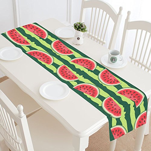 InterestPrint Summer Watermelon Polyester Table Runner Placemat 16 x 72 inch, Red and Green Stripes Tablecloth for Office Kitchen Dining Wedding Party Home - Placemat Red Green