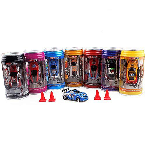 QiYu Pocket Racers, 49HZ Pocket Mini Cola Pot RC Cars with 4pack Barrier(Blue)