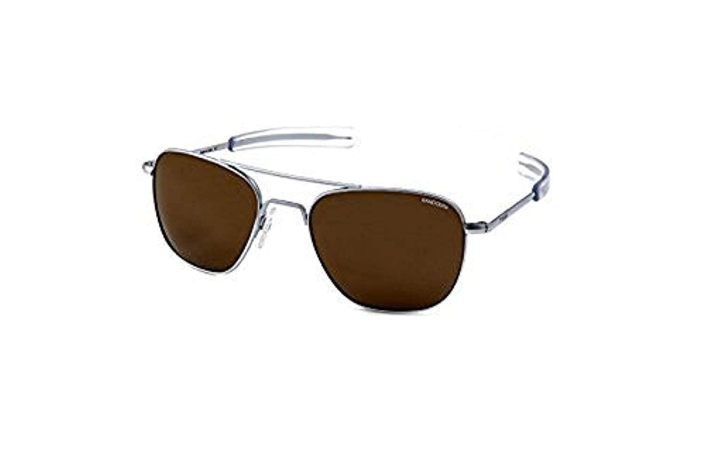 58mm Randolph Aviator Matte Chrome Bayonet Temple Bronze Flash Mirror Non-Polarized Sunglasses