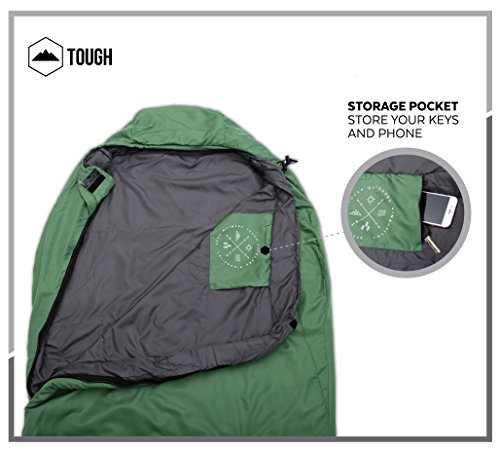 "Mummy Sleeping Bag with Compression Sack - Winter Sleeping Bag for Camping, Hiking, Backpacking & Travel - Waterproof, Compact and Ultralight Cold Weather Sleeping Sack for Adults up to 6'6 3 REST ASSURED. Immerse in a multitude of stars in the night sky! Then rest where you hear nothing but the winter wind. Now that's a 5 (billion or more!) star accommodation. Finally, get lost in a warmth that will leave you sleeping way past your alarm clock. Be warned though, the snooze button will be ignored with this sleeping bag... and waking up at lunch. FIT FOR A KING. Pharaohs boast of grand things. Look no further than the pyramids. Don't believe us? Let's not forget those big and tall coffins they fill when Osiris calls them. However, with this mummy sleeping bag, you get 6'6 ""fit for a king"" size. *Ceremonial wrapping cloth not included, of course*. Go ahead, sleep (and wake up) like royalty. YOU'VE BEEN ""WARMED"". This bag is perfect for summer camping with a temperature rating of 60F+."