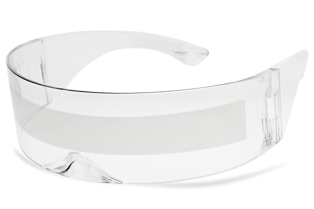 Futuristic Full Shield Mono Lens Wrap Around Cyclops Cosplay Sunglasses (Clear Silver) by SunglassUP
