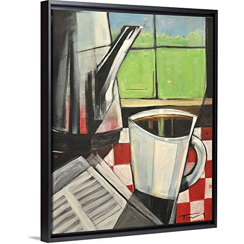 "Tim Nyberg Floating Frame Premium Canvas with Black Frame Wall Art Print Entitled Coffee and Morning News 11""x14"""