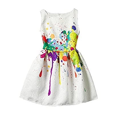 Summer Girls Paint Sleeveless Dress Casual Butterfly Rose Flower Dresses for Kids 2-12