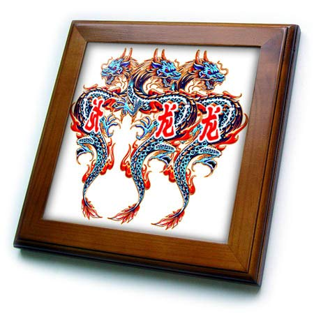 3dRose SpiritualAwakenings Fantasy - Oriental Dragon and Oriental Writing Tattoo Fantasy - 8x8 Framed Tile (ft_317025_1) (Tattoo Framed Tile)