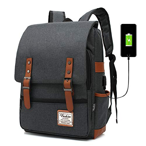Professional Laptop Backpack with USB Charging Port, Feskin Fashion Travel Bag Vintage Business Work Computer Rucksack College School Casual Daypack for Women Men Girls - Black