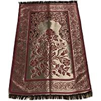 Luxury Quality Silk Rose Pattern Islamic Prayer Rug Janamaz Sajjadah Muslim Namaz Seccade Turkish Prayer Rug (Red)