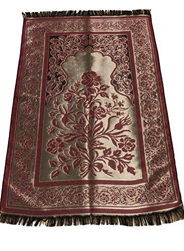 Luxury Quality Silk Rose Pattern Islamic Prayer Rug Janamaz Sajjadah Muslim Namaz Seccade Turkish Prayer Rug (Red) by MKISLA