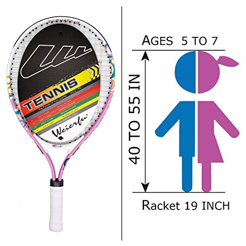 """Weierfu Junior Tennis Racket for Kids Toddlers Starter Racket 17-21"""" with Cover Bag Light Weight(Strung)"""