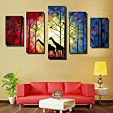 HD Printed Wall Art Painting 5 Pieces Muslim Islamic Night Mosque Building Poster Painting Home Decoration Room Wall Sticker Frameless (2, 30502+30702+30901)