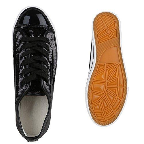 Glänzende Damen Low Metallic Glanz Turnschuhe Leder Flats Flandell Pailletten Glitzer Sneaker Sneakers Schwarz Optik CrURwC