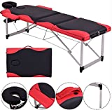K&A Company Massage Table With Case Carry Portable Bed Facial Spa Tattoo Fold Black & Red 72''L New 500lbs Capacity