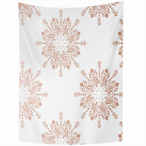 Ahawoso Tapestry 60 x 90 Inches Baby Pink Pattern Rose Gold Large Floral Lace Tone Toile Blush Announcement Birthday Border Design Wall Hanging Home Decor Tapestries for Living Room Bedroom Dorm