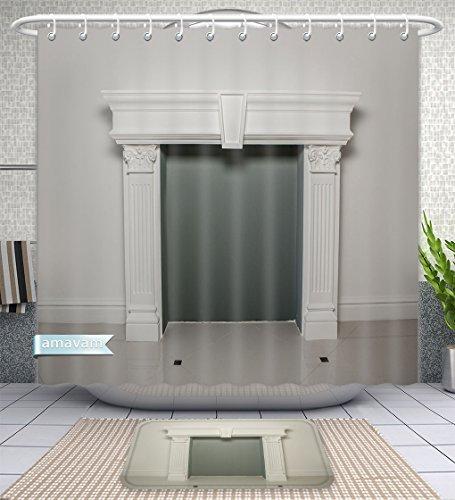 Amavam Bathroom 2-Piece Suit Fireplace Mantel Or Mantelpiece Shower Curtains And Bath Mats Set, 79'' Wx71 H & 31'' Wx20 H by Amavam