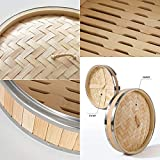 HLZC 10 Inch Bamboo Steamer with Stainless Steel