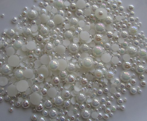 500pcs Assorted Mixed Sizes AB Coating Flat Back Pearl Cabochon ---Cream White