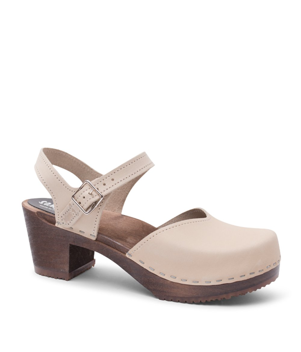 Sandgrens Swedish Wooden High Heel Clog Sandals for Women | Victoria in Sand, size US 10 EU 40