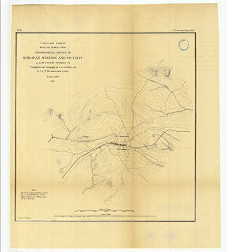 Price comparison product image 18 x 24 Canvas 1872 Wyoming old nautical map drawing chart of Topographical Sketch of Sherman Station and Vicinity,  Albany County,  Wyoming