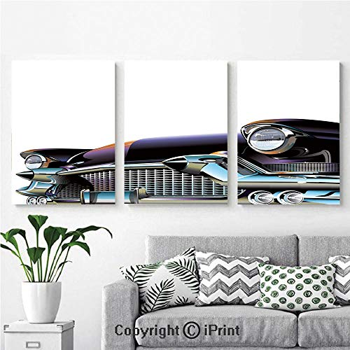 3PCS Triple Decoration Painting Wall Mural Old Fashioned Automobile Old Timer Antique American Collectors Vehicle Decorative Living Room Dining Room Studying Aisle Painting,16