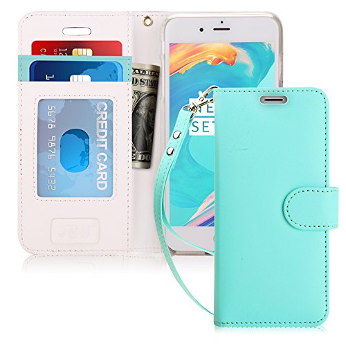 FYY Case for iPhone 7/iPhone 8, [Kickstand Feature] Flip Folio Leather Wallet Case with ID and Credit Card Pockets for Apple iPhone 8/7 (4.7'') Mint Green by FYY