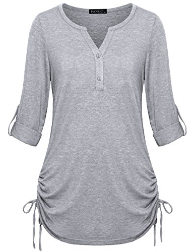 FANSIC Women Tops and Blouses, Women's Henley Business Button Down Casual Blouses and Shirts Small Light Gray