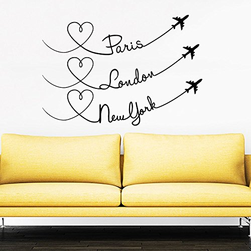 Paris London New York Quote Travel Wall Decal Vinyl Stickers Decals Home Decor Love Planes Decals Vinyl Lettering Wall Decal Bedroom ZX251 by IncredibleDecals